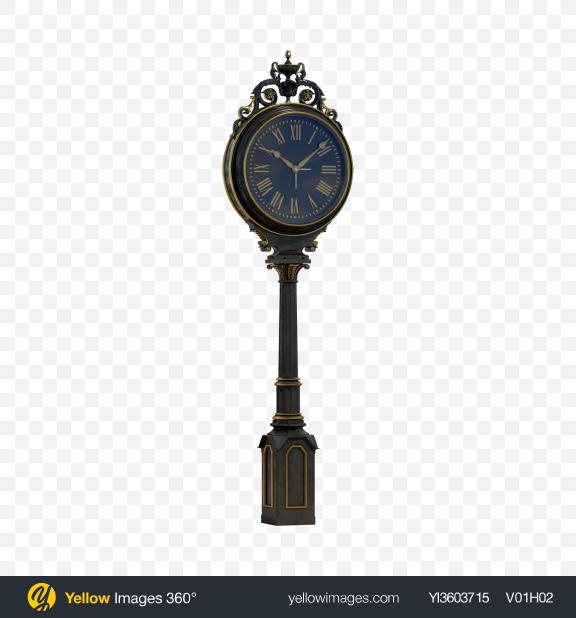 Download Vintage Street Clock Transparent PNG on Yellow Images 360°