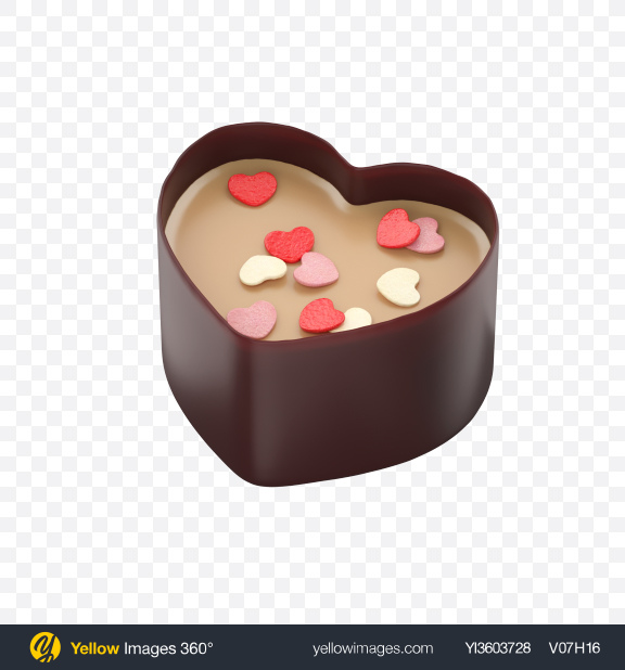 Download Chocolate Heart Cup Transparent PNG on Yellow Images 360°