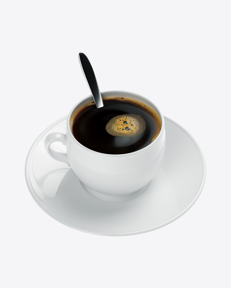 White Coffee Cup with Metal Spoon