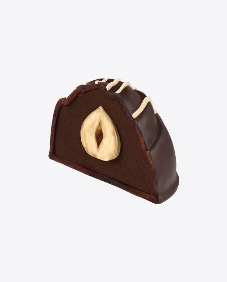 Half of Chocolate Candy with Hazelnut