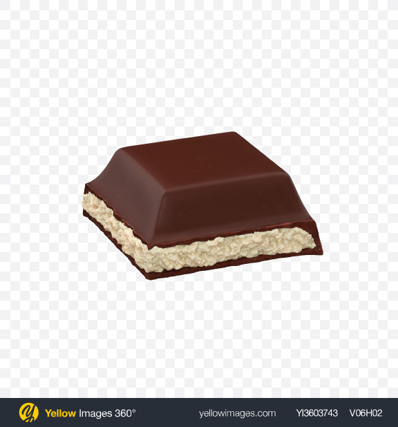 Download Square Chocolate Piece with Coconut Cream Transparent PNG on Yellow Images 360°