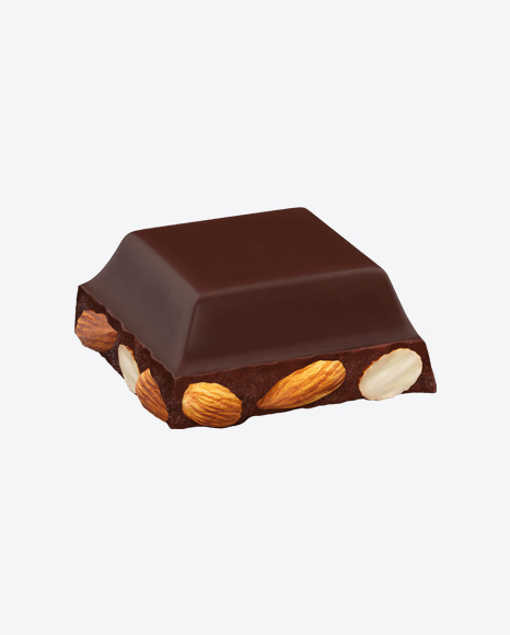 Square Chocolate Piece with Almonds