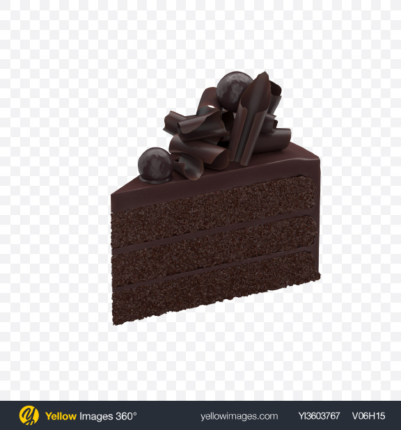 Download Chocolate Cake Slice with Bits Transparent PNG on Yellow Images 360°