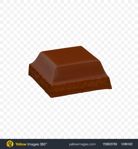 Download Square Milk Chocolate Piece Transparent PNG on Yellow Images 360°