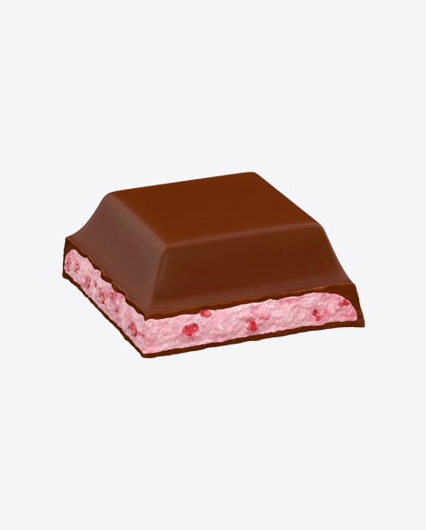 Square Chocolate Piece with Strawberry