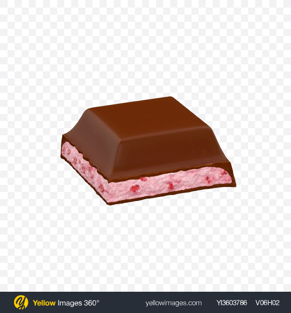 Download Square Chocolate Piece with Strawberry Transparent PNG on Yellow Images 360°