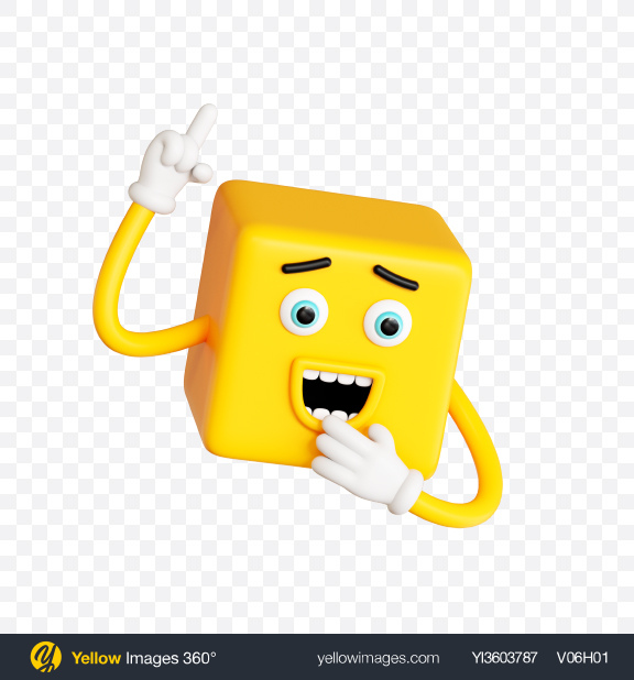 Download Smiling Toon Character Transparent PNG on Yellow Images 360°