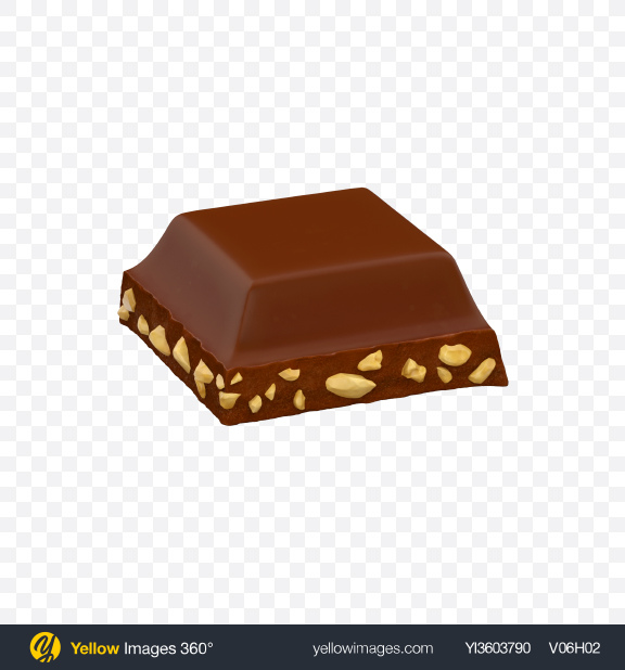 Download Square Chocolate Piece with Nuts Transparent PNG on YELLOW Images