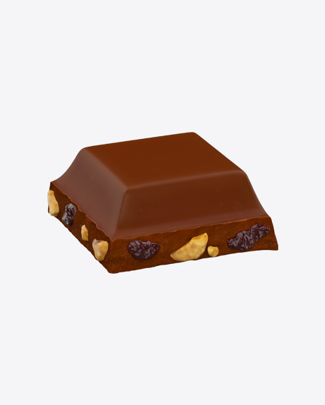 Square Chocolate Piece with Nuts and Raisins