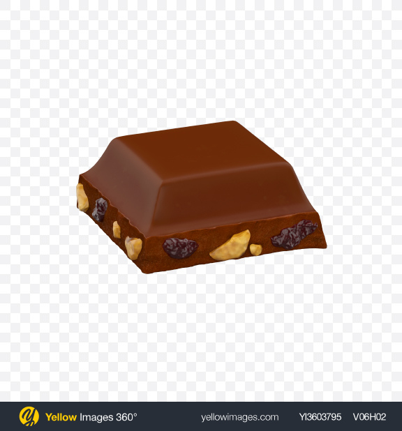 Download Square Chocolate Piece with Nuts and Raisins Transparent PNG on Yellow Images 360°