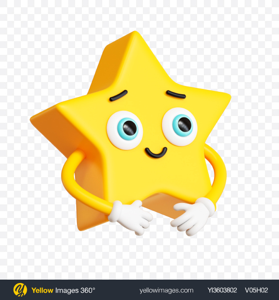 Download Star Toon Character Transparent PNG on Yellow Images 360°