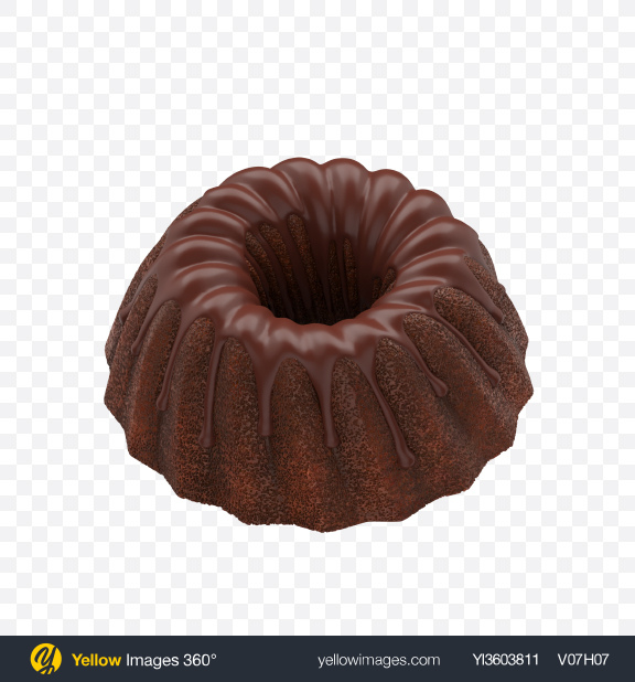 Download Chocolate Glazed Bundt Cake Transparent PNG on Yellow Images 360°
