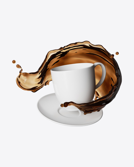 White Cup with Coffee Splash