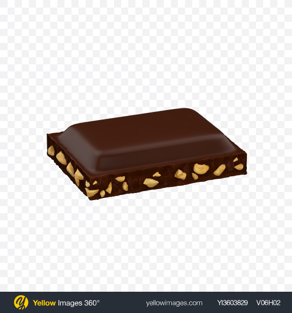 Download Dark Chocolate Piece with Nuts Transparent PNG on Yellow Images 360°