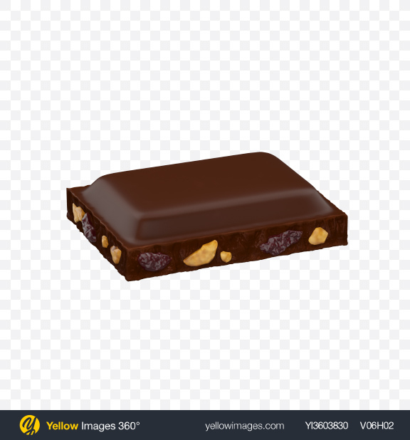 Download Dark Chocolate Piece with Nuts and Raisins Transparent PNG on Yellow Images 360°