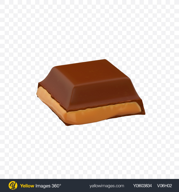 Download Square Chocolate Piece with Caramel Transparent PNG on Yellow Images 360°