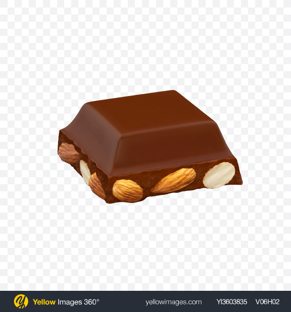 Download Square Chocolate Piece with Almonds Transparent PNG on Yellow Images 360°