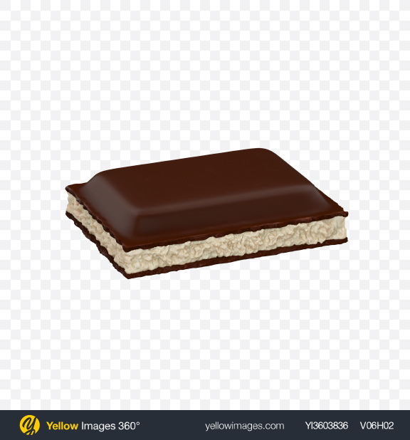 Download Dark Chocolate Piece with Coconut Cream Transparent PNG on Yellow Images 360°
