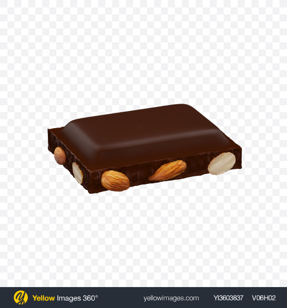 Download Dark Chocolate Piece with Almonds Transparent PNG on Yellow Images 360°