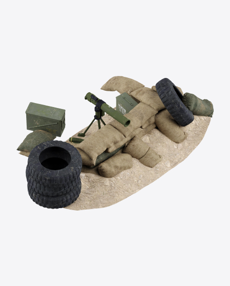 Sandbag Fortification with Rocket Launcher