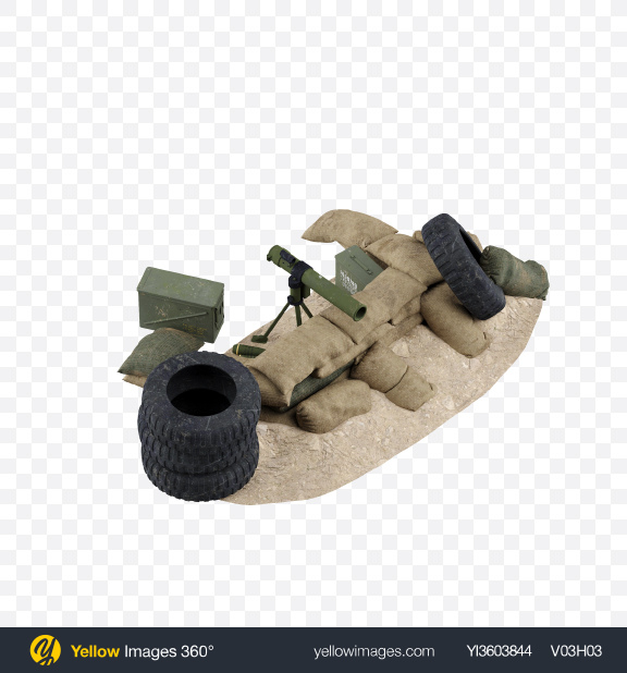 Download Sandbag Fortification with Rocket Launcher Transparent PNG on Yellow Images 360°