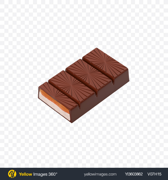 Download Half of Milk Chocolate Bar Transparent PNG on Yellow Images 360°