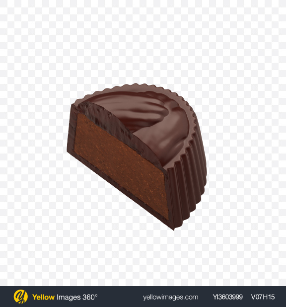 Download Half of Dark Chocolate Candy Transparent PNG on Yellow Images 360°