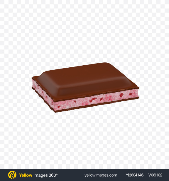 Download Milk Chocolate Bar Piece with Strawberry Transparent PNG on Yellow Images 360°