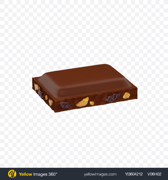 Download Milk Chocolate Piece with Nuts and Raisins Transparent PNG on Yellow Images 360°