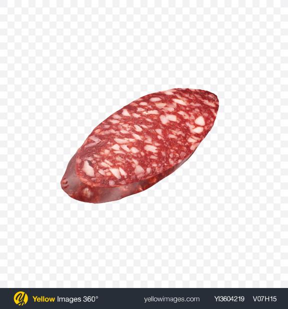 Download Salami Sausage Slice Transparent PNG on Yellow Images 360°