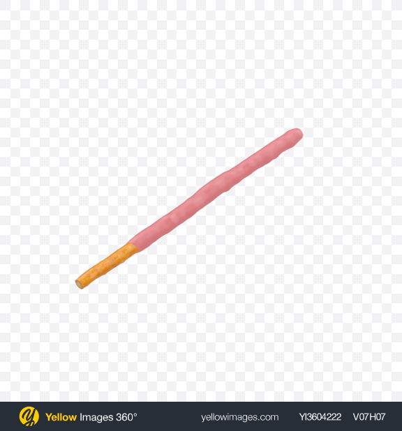 Download Strawberry Coated Biscuit Stick Transparent PNG on Yellow Images 360°