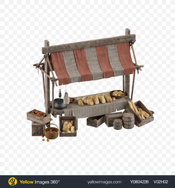 Download Medieval Bread Stall Transparent PNG on YELLOW Images