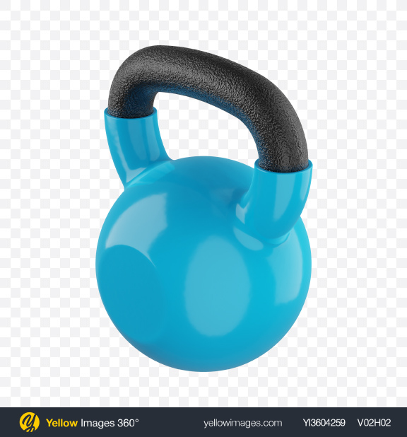 Download Fitness Kettlebell with Blue Vinyl Coat Transparent PNG on Yellow Images 360°