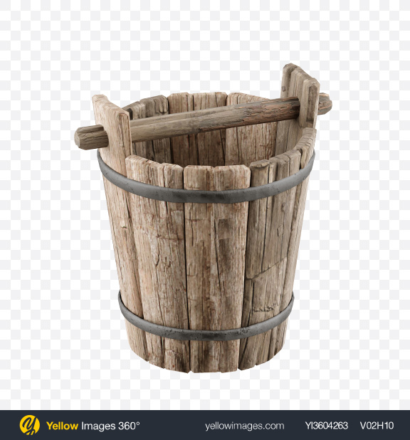 Download Wooden Well Bucket Transparent PNG on Yellow Images 360°