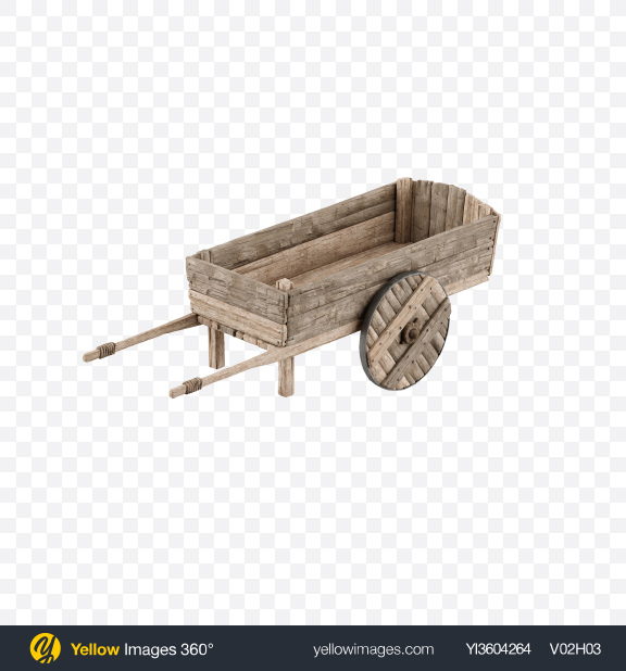 Download Wooden Wheelbarrow Transparent PNG on Yellow Images 360°