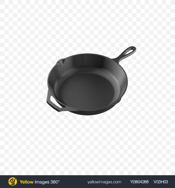 Download Cast Iron Skillet Transparent PNG on Yellow Images 360°