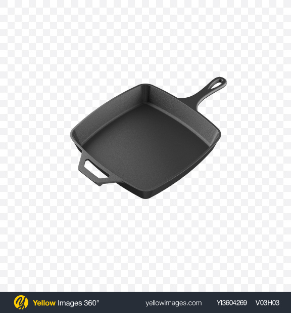 Download Square Cast Iron Frying Pan Transparent PNG on Yellow Images 360°