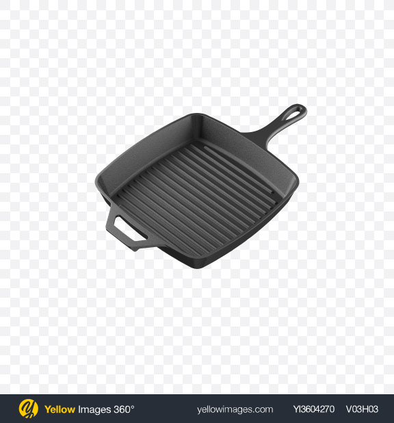 Download Square Cast Iron Grill Pan Transparent PNG on Yellow Images 360°
