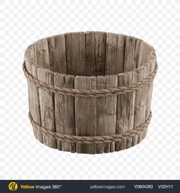 Download Wooden Bucket Transparent PNG on Yellow Images 360°