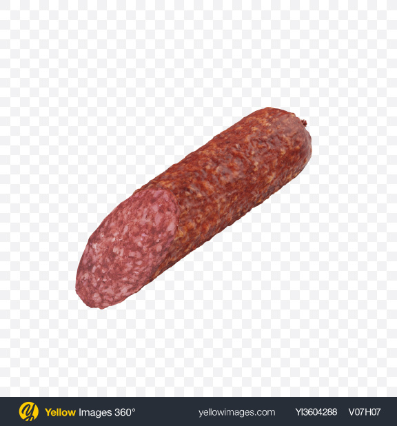Download Half of Dry Cured Sausage Transparent PNG on Yellow Images 360°