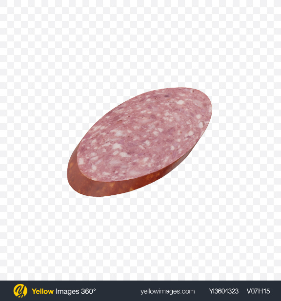 Download Salami Sausage Slice Transparent PNG on Yellow Images 360°