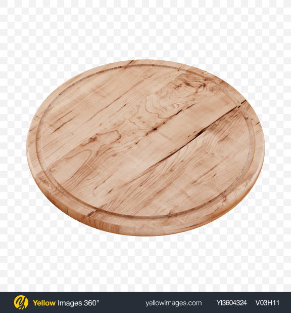 Download Round Wooden Cutting Board Transparent PNG on Yellow Images 360°