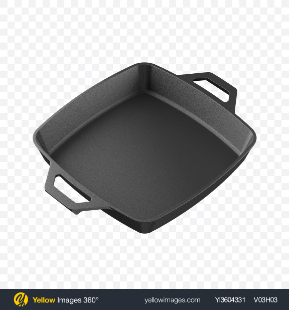 Download Cast Iron Square Pan Transparent PNG on Yellow Images 360°