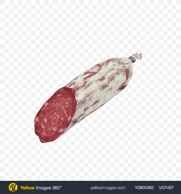 Download Half of Winter Salami Sausage Transparent PNG on Yellow Images 360°