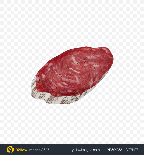 Download Winter Salami Sausage Slice Transparent PNG on Yellow Images 360°