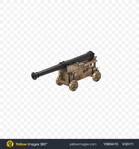 Download Old Naval Cannon Transparent PNG on Yellow Images 360°