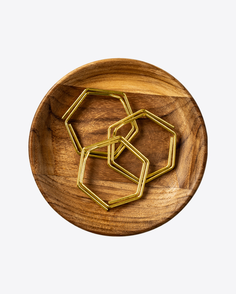 Wooden Tray with Hexagon Paper Clips