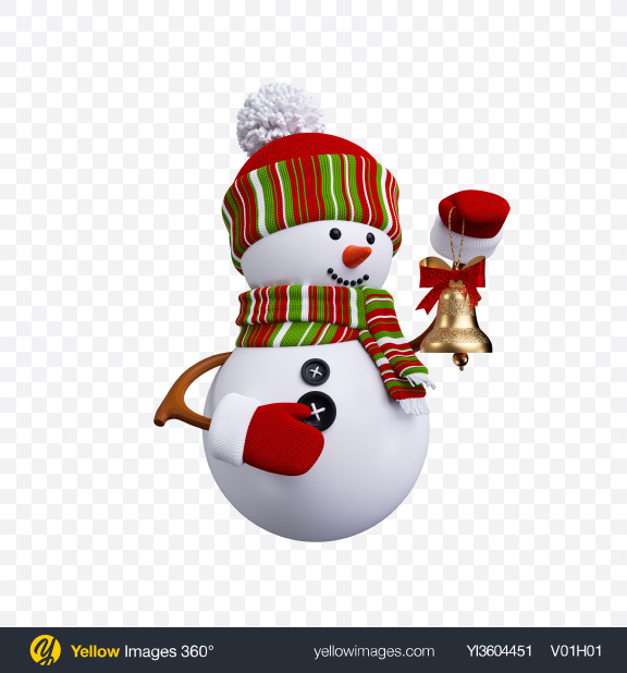 Download Snowman Toy with Bell Transparent PNG on Yellow Images 360°
