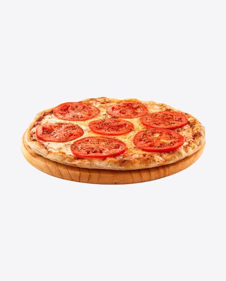 Margarita Pizza on Wooden Plate