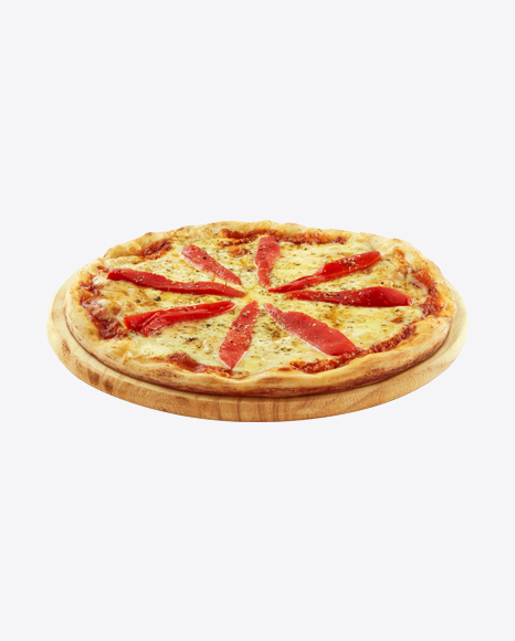 Pizza with Red Pepper on Wooden Plate